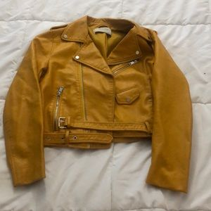Yellow leather crop jacket